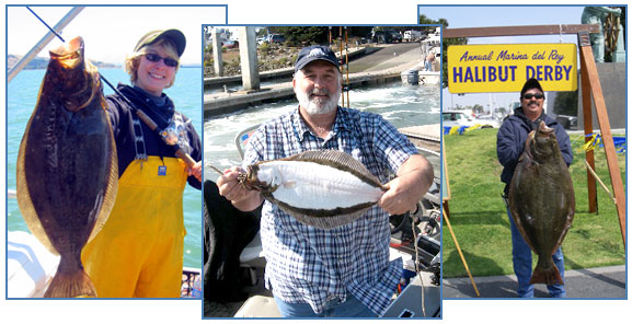 Recreational halibut anglers. CDFW photos by T. Tanaka (left), A. Vincent (center) and S. Bell (right)